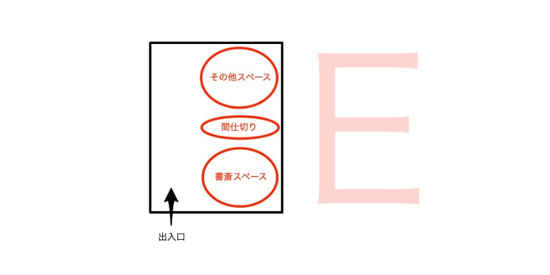 E型の書斎スペースレイアウト