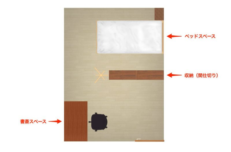 寝室に書斎コーナーを作る場合(F型)